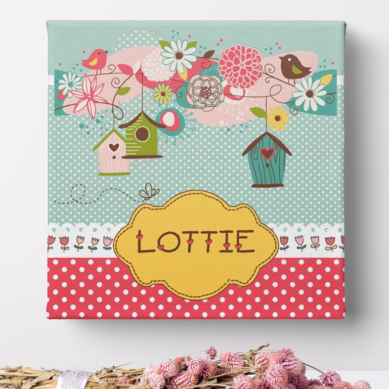 Hearts and Flowers personalised canvas print