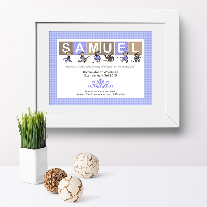 Personalised Mouse nursery print | bespoke baby christening gifts from PhotoFairytales