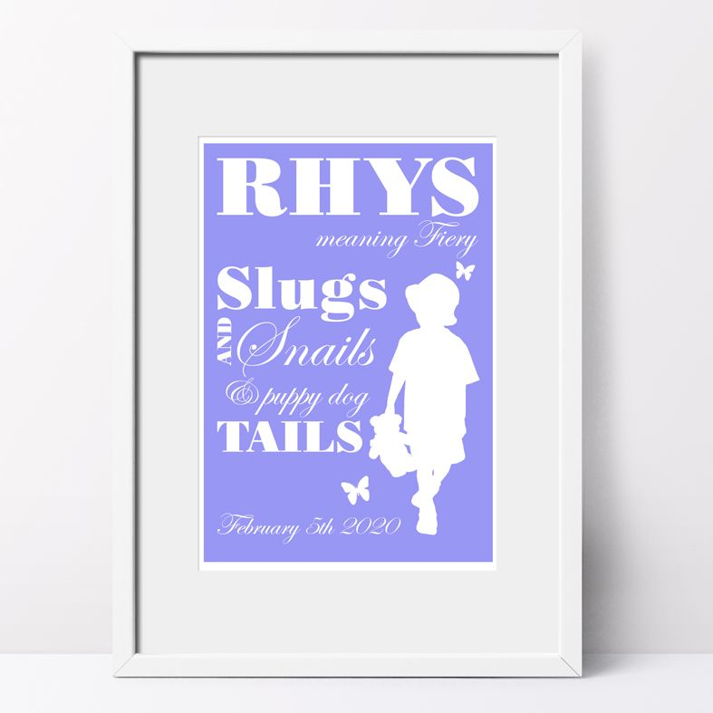 Slugs and Snails name meaning nursery baby print