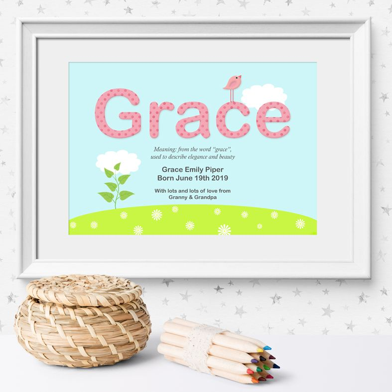 Summer name meaning nursery baby print