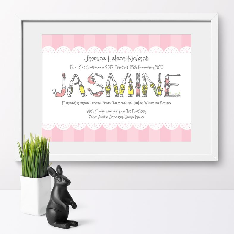 Bunny name meaning nursery baby print