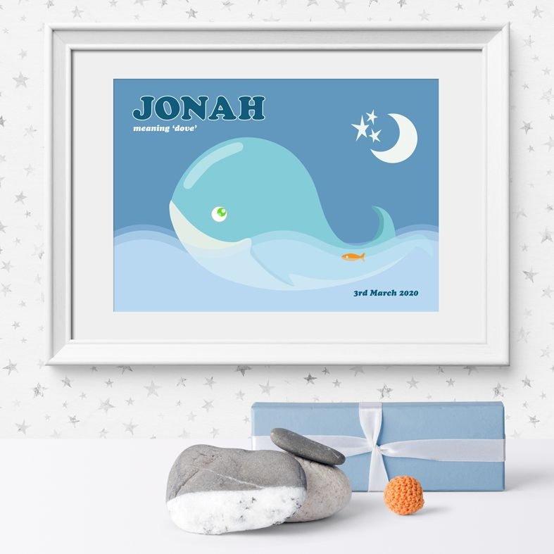 Whale name meaning nursery baby print