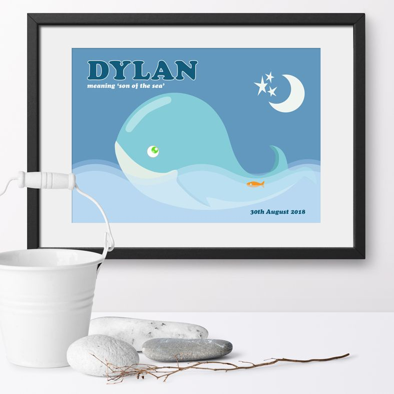 Personalised Whale nursery print | bespoke baby christening gifts from PhotoFairytales