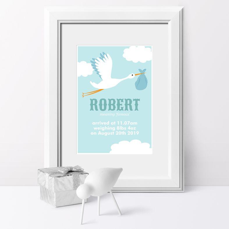 Stork name meaning nursery baby print