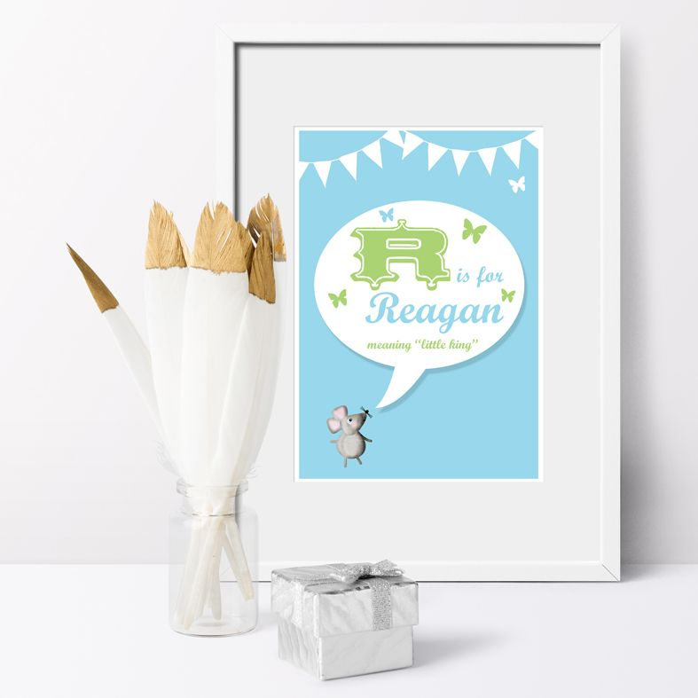Personalised Retro nursery print | bespoke baby christening gifts from PhotoFairytales