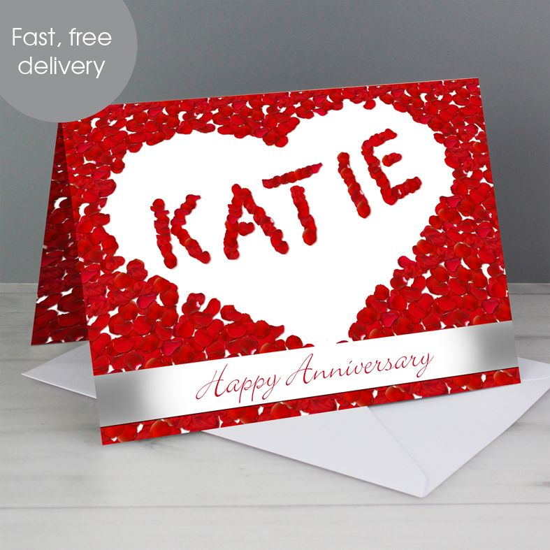 Petal Heart personalised greeting card