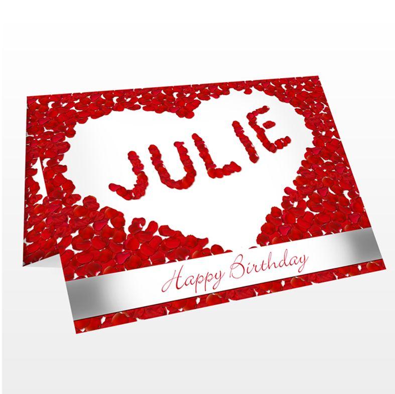 Petal Heart personalised greeting card