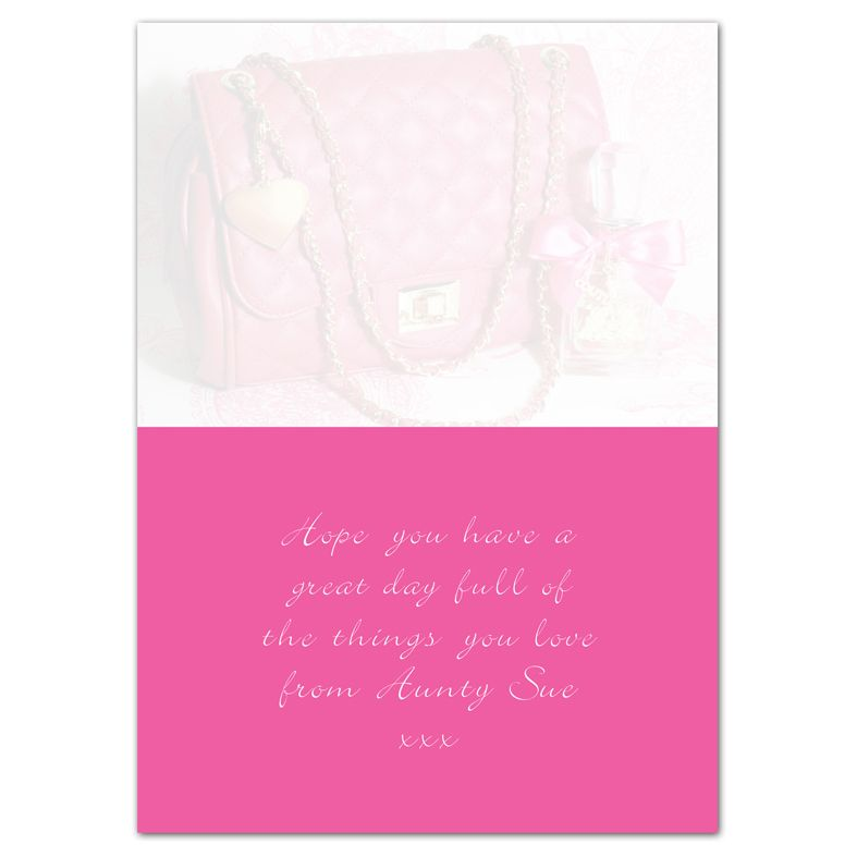 Handbag personalised greeting card