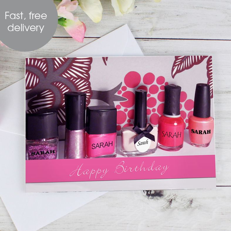 Nail Polish personalised greeting card