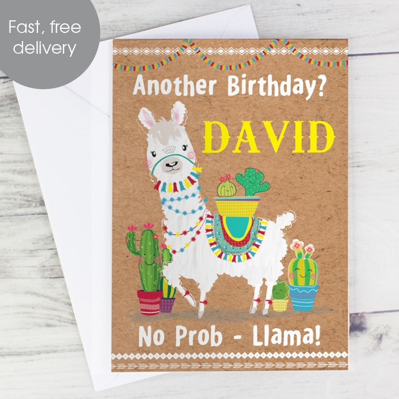 Llama Alpaca personalised greeting card