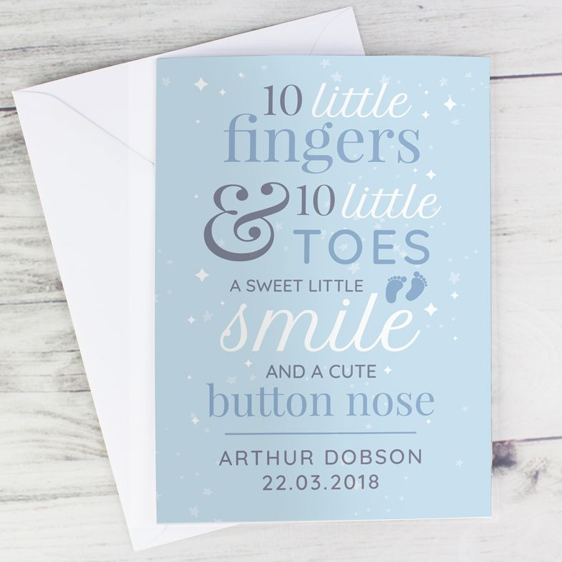 Ten Little Fingers personalised greeting card
