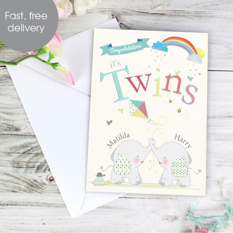 Twins Baby personalised greeting card
