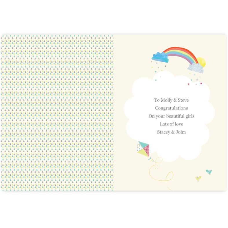 Baby Elephant Twins personalised greeting card