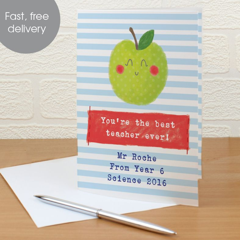Apple for Teacher personalised greeting card