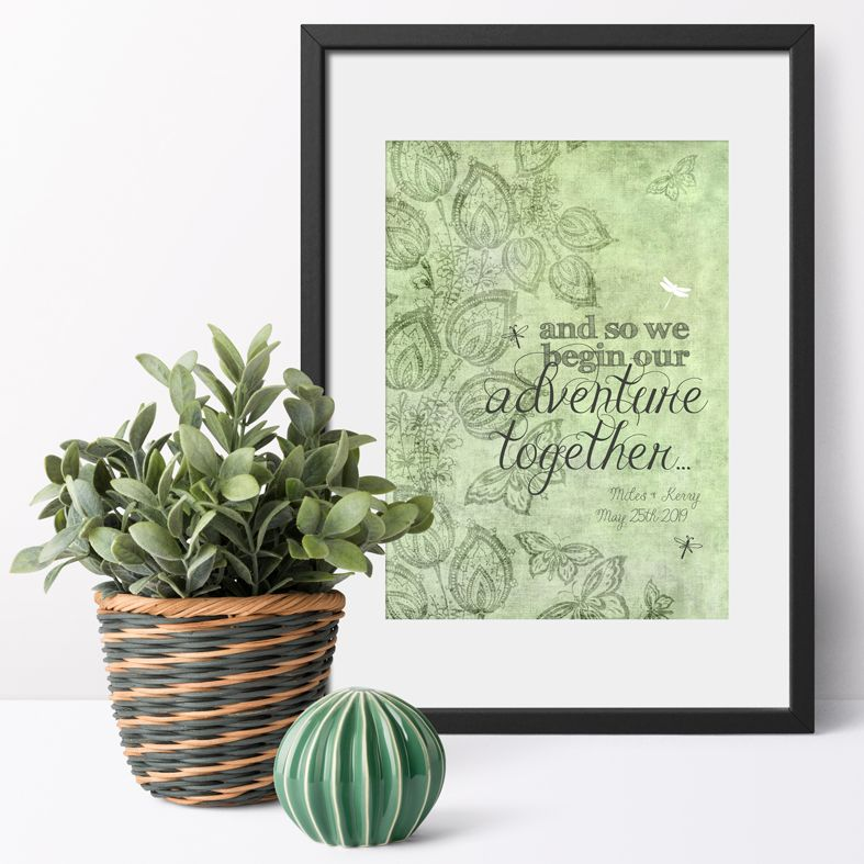 Personalised We Begin Our Adventure wedding print | romantic wedding or anniversary gift from PhotoFairytales