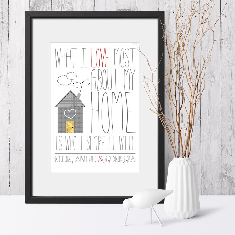 Personalised Love My Home print | romantic Valentine or anniversary gift from PhotoFairytales