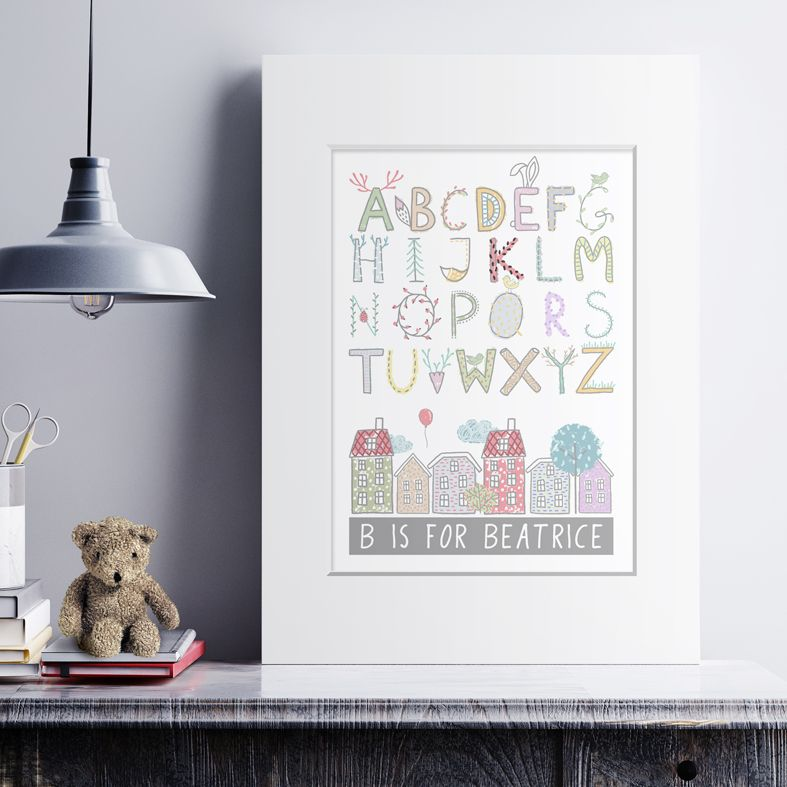 Personalised Alphabet Nursery Print | unique baby or christening gift, personalised nursery decor from PhotoFairytales