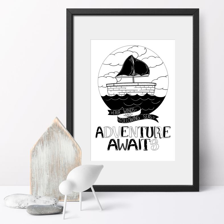 Adventure Awaits monochrome nursery art print | made to order wall art from PhotoFairytales
