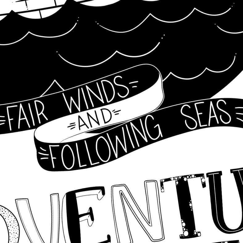 Adventure Awaits Art Print | monochrome nautical wall art for children made to order from PhotoFairytales