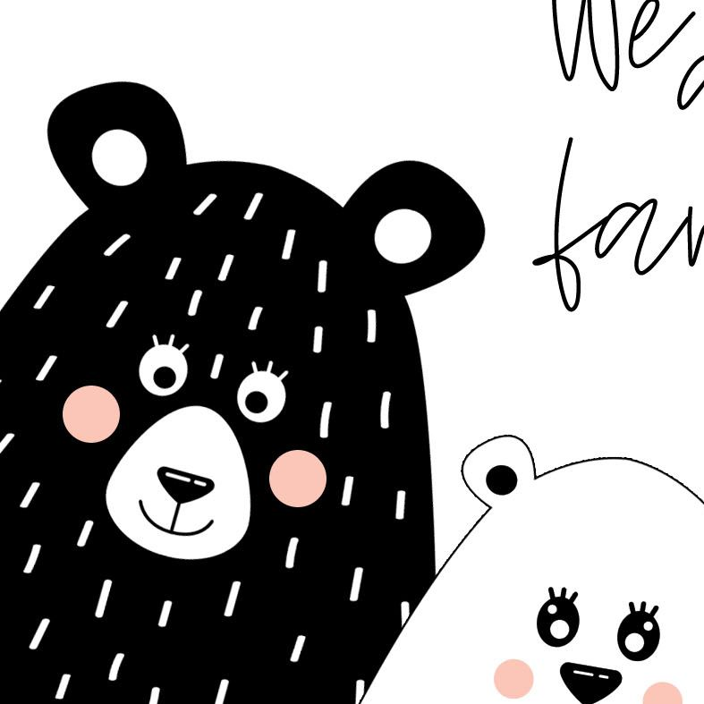 We Are Family Art Print | Scandi style monochrome bear selfie art from PhotoFairytales