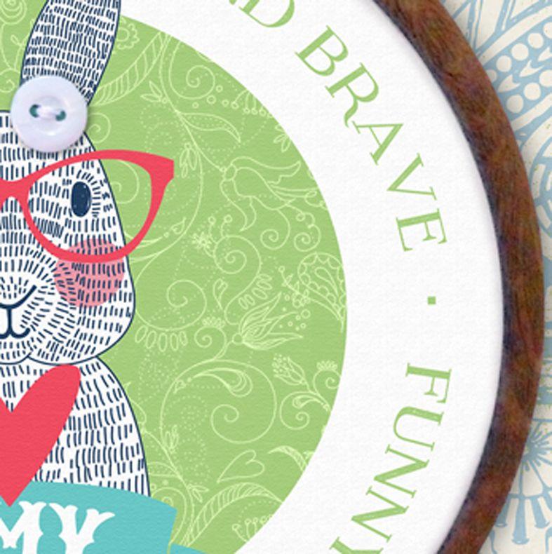 Bunny Personalised Embroidery Hoop Print   Handmade Gift, PhotoFairytales