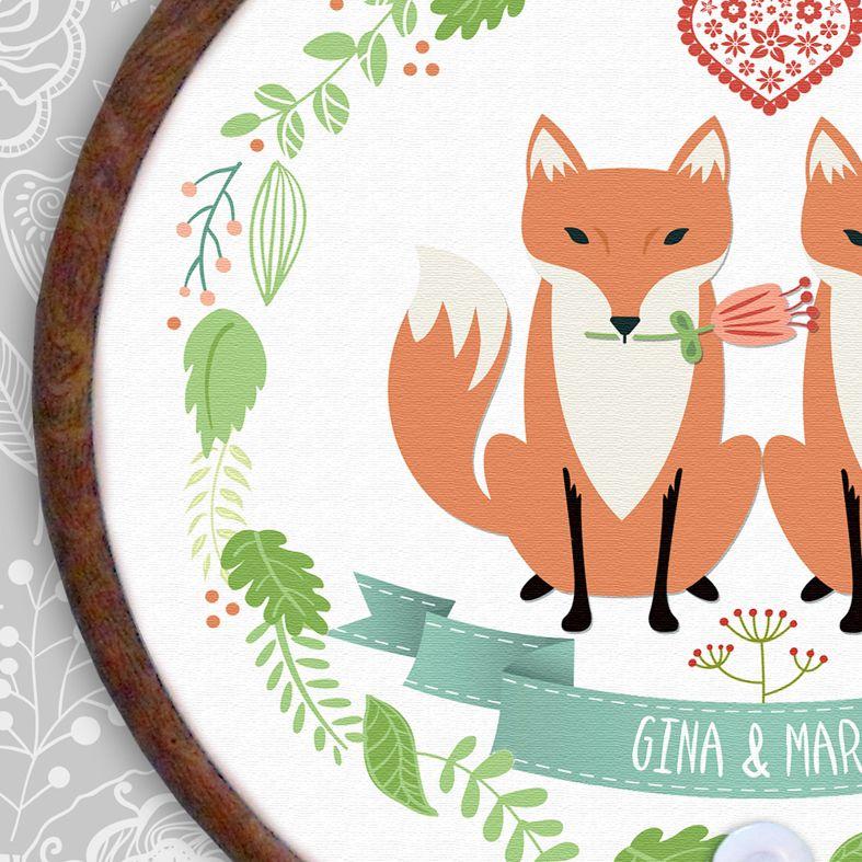 Foxes Personalised Embroidery Hoop Print   Handmade Anniversary Gift, PhotoFairytales
