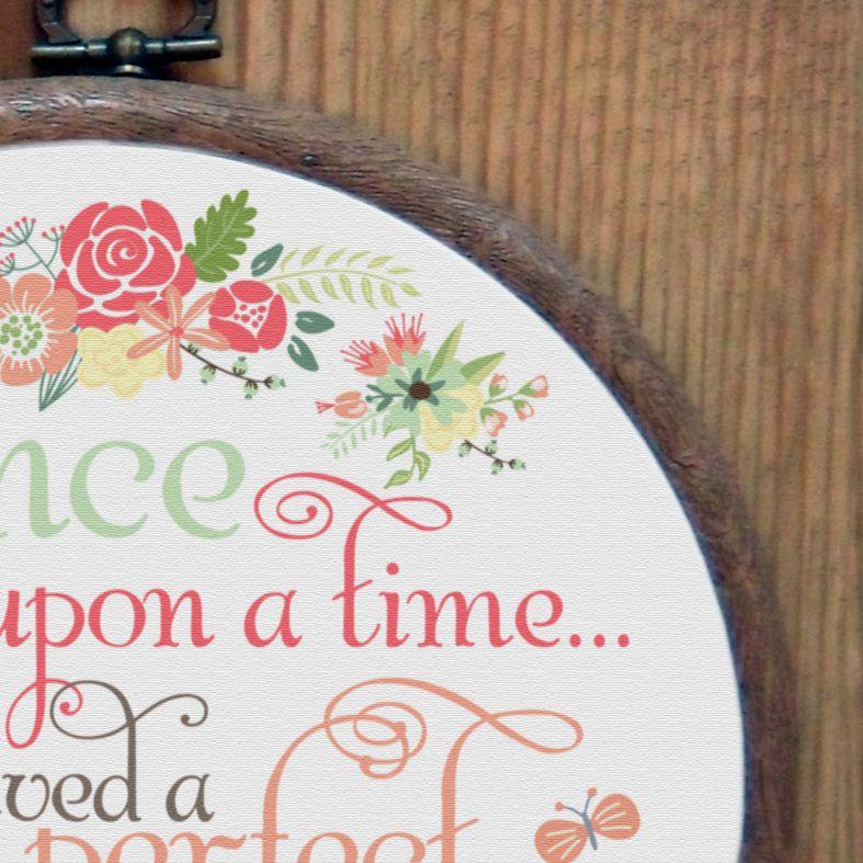 Once Upon a Time Personalised Embroidery Hoop Nursery Print | Handmade Baby Gift, PhotoFairytales