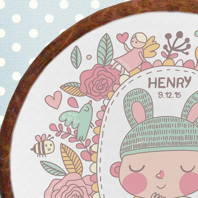 Baby Personalised Embroidery Hoop Nursery Print | Handmade Baby Christening Gift, PhotoFairytales