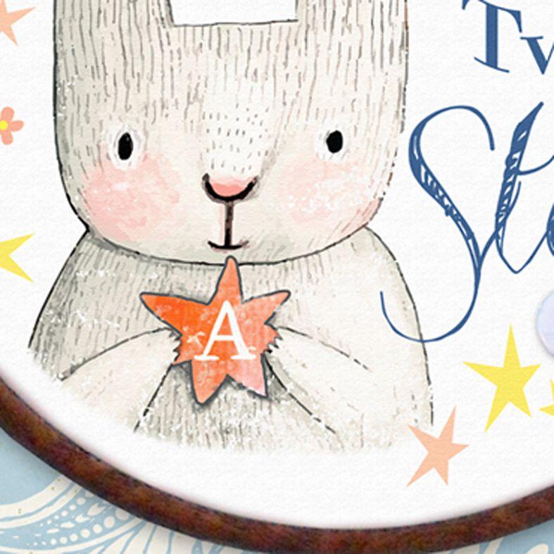 Twinkle Twinkle Little Star Personalised Embroidery Hoop Nursery Print   Handmade Baby Christening Gift, PhotoFairytales