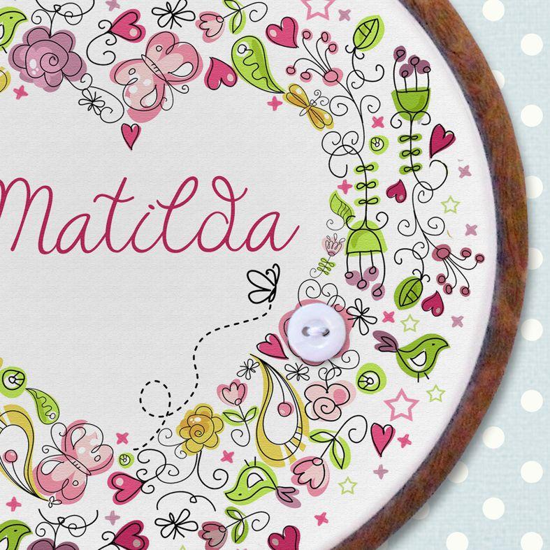 Heart Personalised Embroidery Hoop Print | Handmade Baby Little Girl Gift, PhotoFairytales