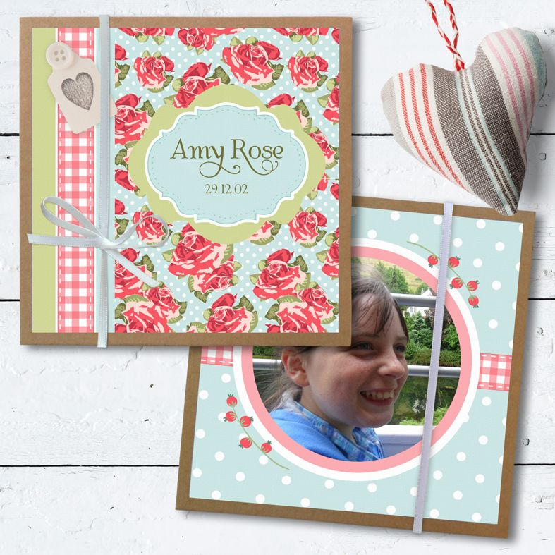 Personalised Photo Albums | Old Rose design, handmade pocket sized keepsake photo album from PhotoFairytales