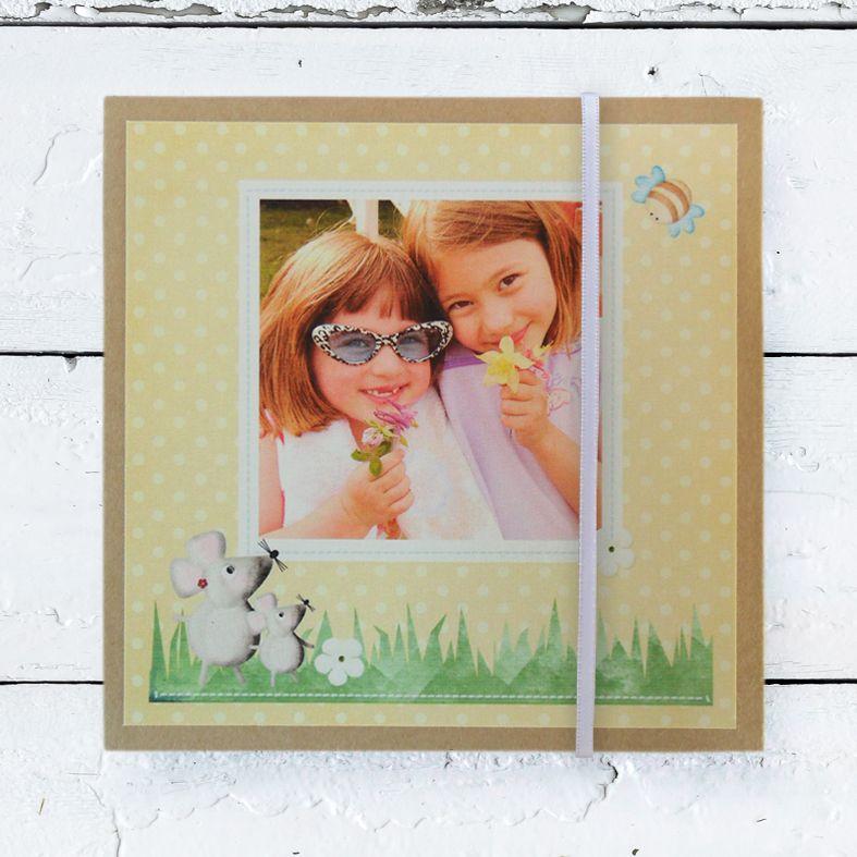 Personalised Photo Albums | Yellow Spot design, handmade pocket sized keepsake photo album from PhotoFairytales