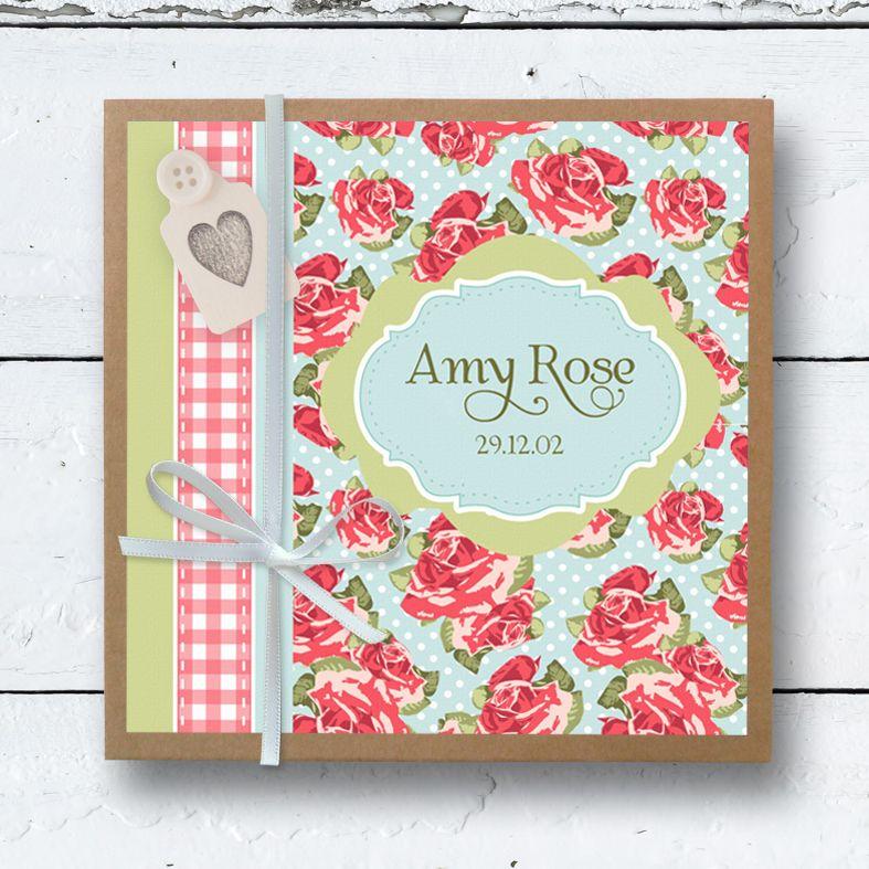 Personalised Photo Albums   Old Rose design, handmade pocket sized keepsake photo album from PhotoFairytales