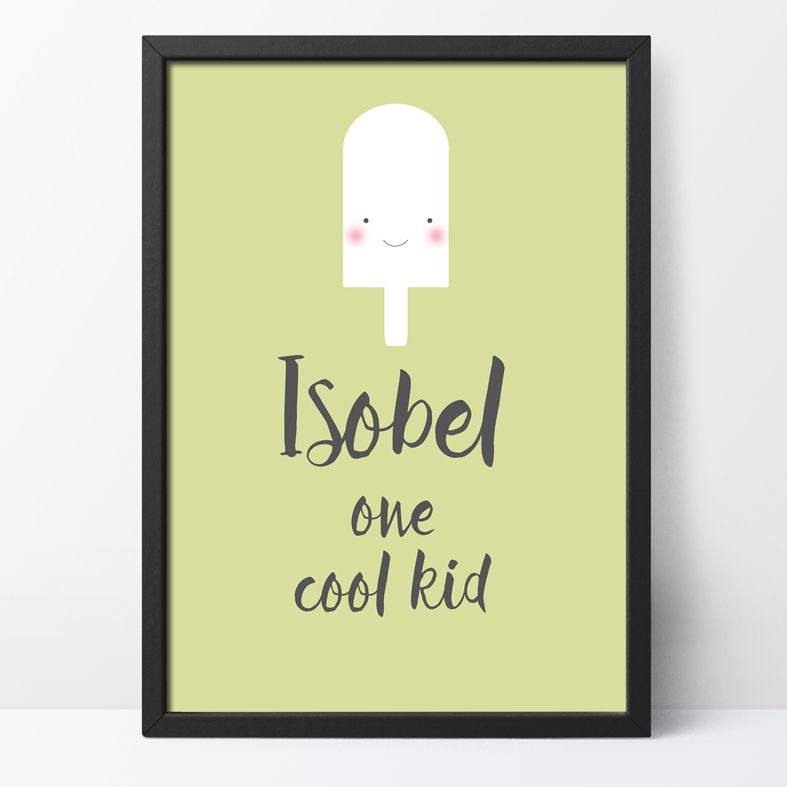 One Cool Kid Personalised Print | cute and happy kawaii style art from PhotoFairytales