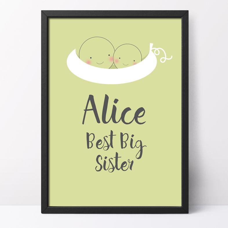 Best Big Sister Personalised Print | cute and happy kawaii style art from PhotoFairytales