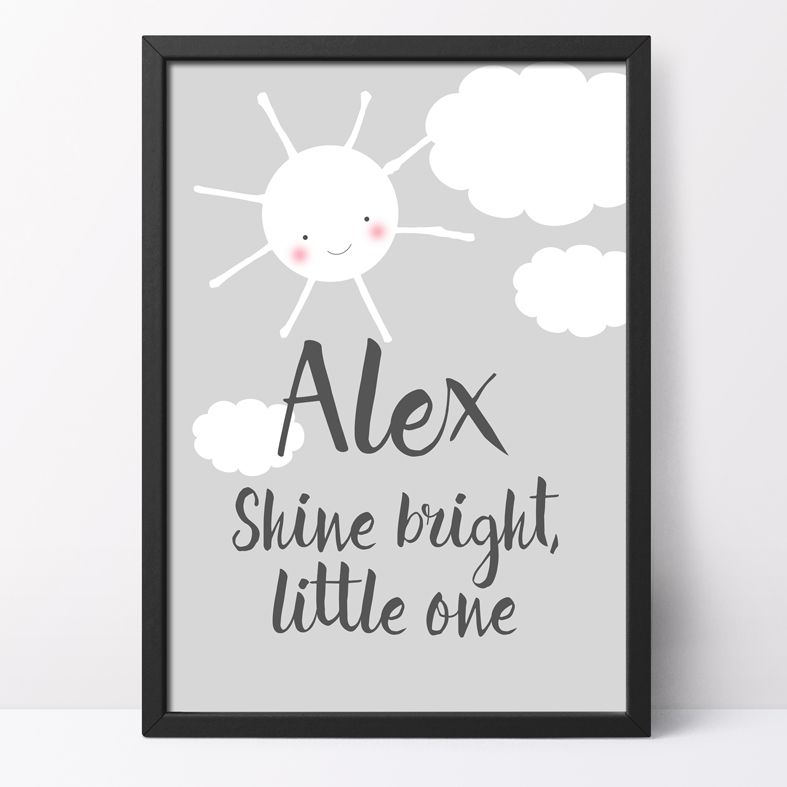 Shine Bright, Little One Personalised Print | cute, happy kawaii style nursery art for your baby or child, from PhotoFairytales