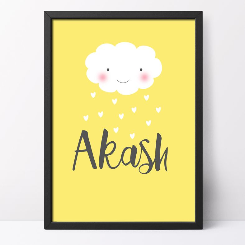 Raining Love Personalised Print | A smile for your wall, this delightful art print is a charming present, equally perfect for a new baby or a touching romantic personalised gift.