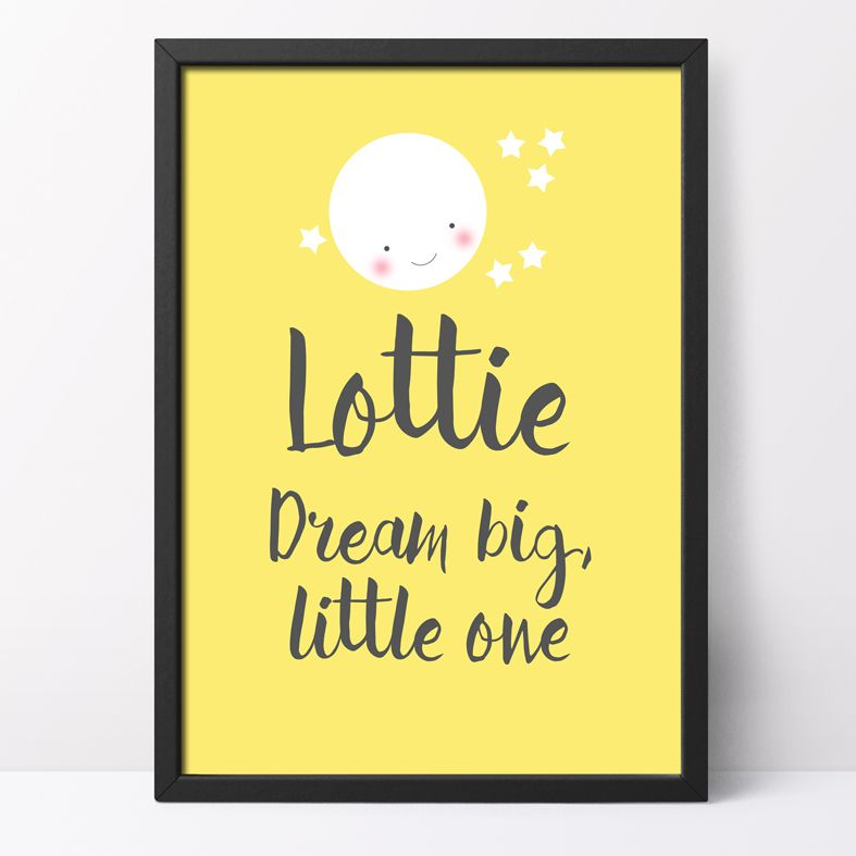 Dream Big, Little One Personalised Print | this charming celestial art print from PhotoFairytales is a lovely finishing touch for a stargazing themed nursery or bedroom, and a delightful gift for your baby.
