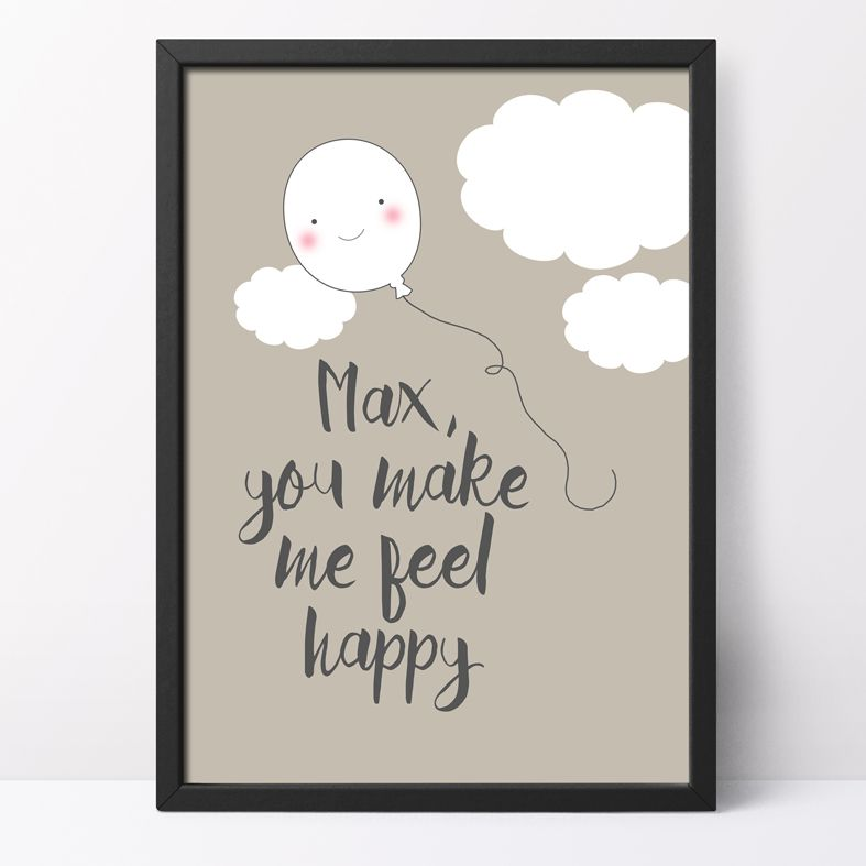 Feel Happy Personalised Print   this charming optimistic kawaii style art print from PhotoFairytales is a lovely gift idea for all ages