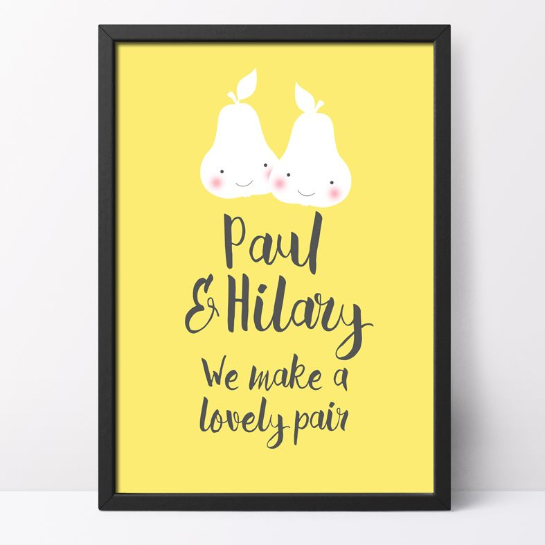 We Make a Lovely Pair Personalised Print   romantic personalised print, featuring a loving pair of pears - perfect gift for an anniversary or Valentine from PhotoFairytales
