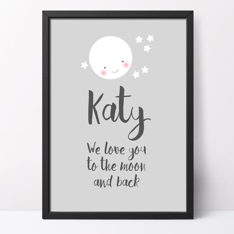 Love You to the Moon and Back Personalised Print   This charming print will look gorgeous in the baby's nursery, but because it's personalised it will work equally beautifully as a romantic gift for your partner. From PhotoFairytales.