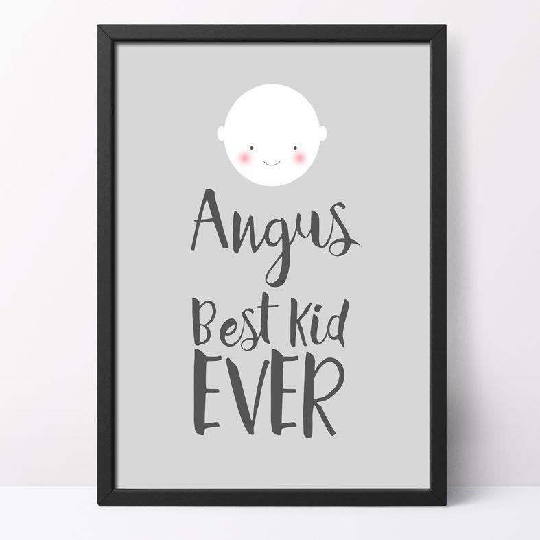 Best Kid Ever Personalised Poster Print | custom nursery decor, monochrome nursery art, PhotoFairytales