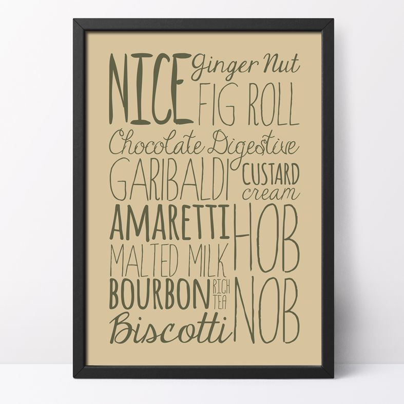 Biscuits bespoke Word Theme Print   made to order word art prints created in any colour, striking typographic art for your home, from PhotoFairytales