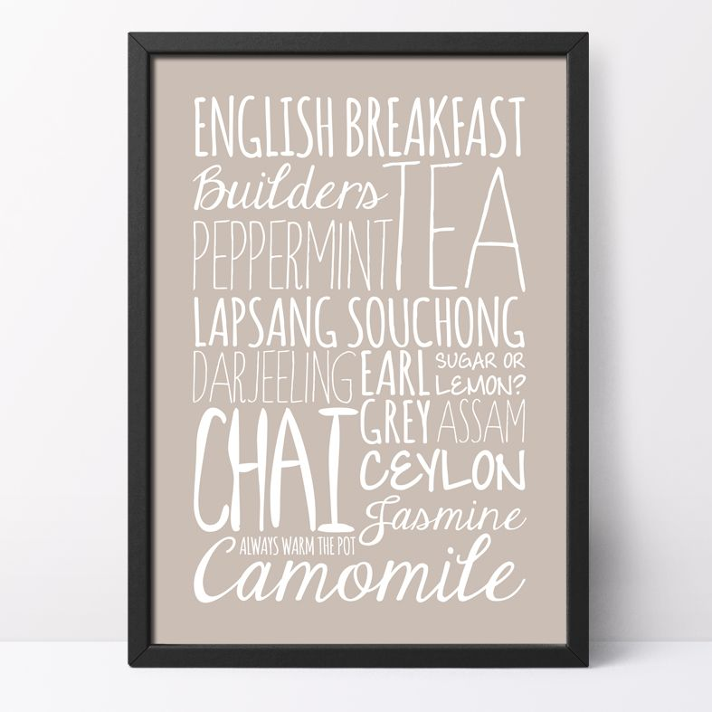 Tea bespoke Word Theme Print | made to order word art prints created in any colour, striking typographic art for your home, from PhotoFairytales