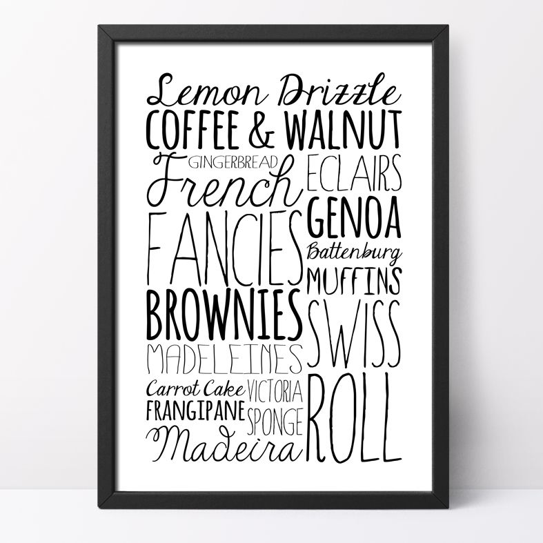 Cake bespoke Word Theme Print | made to order word art prints created in any colour, striking typographic art for your home, from PhotoFairytales