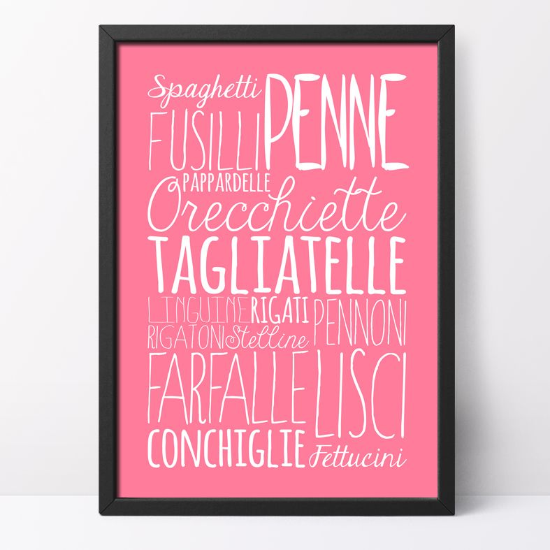 Pasta bespoke Word Theme Print   made to order word art prints created in any colour, striking typographic art for your home, from PhotoFairytales