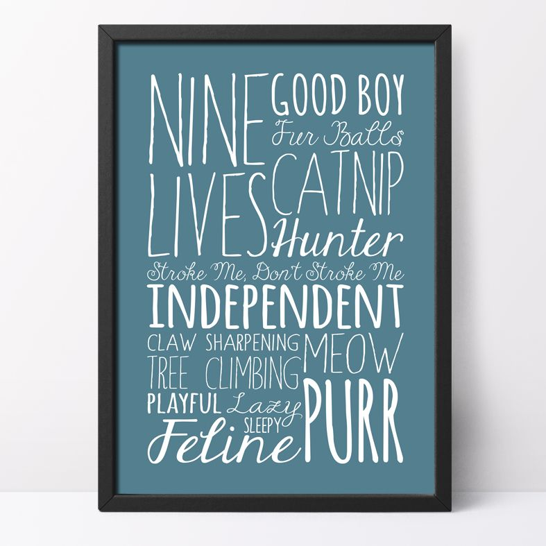 Cat bespoke Word Theme Print   made to order word art prints created in any colour, striking typographic art for your home, from PhotoFairytales