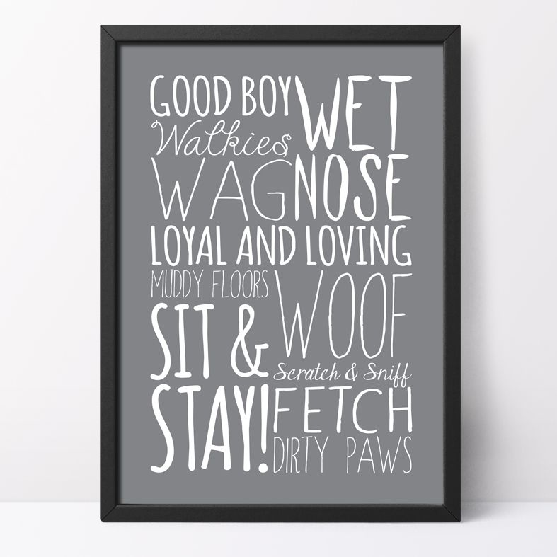 Dog bespoke Word Theme Print | stylish gift for dog lover, made to order word art prints created in any colour, striking typographic art for your home, from PhotoFairytales