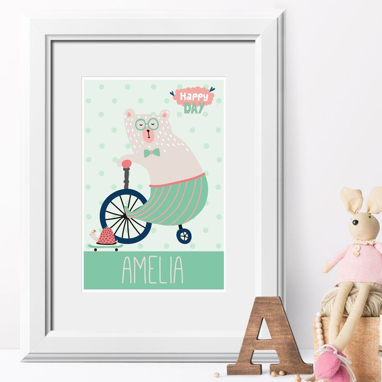 Happy Day bear personalised name poster print | A delightful range of personalised name prints featuring your baby's name. Lovely #nurserydecor #babygift from PhotoFairytales