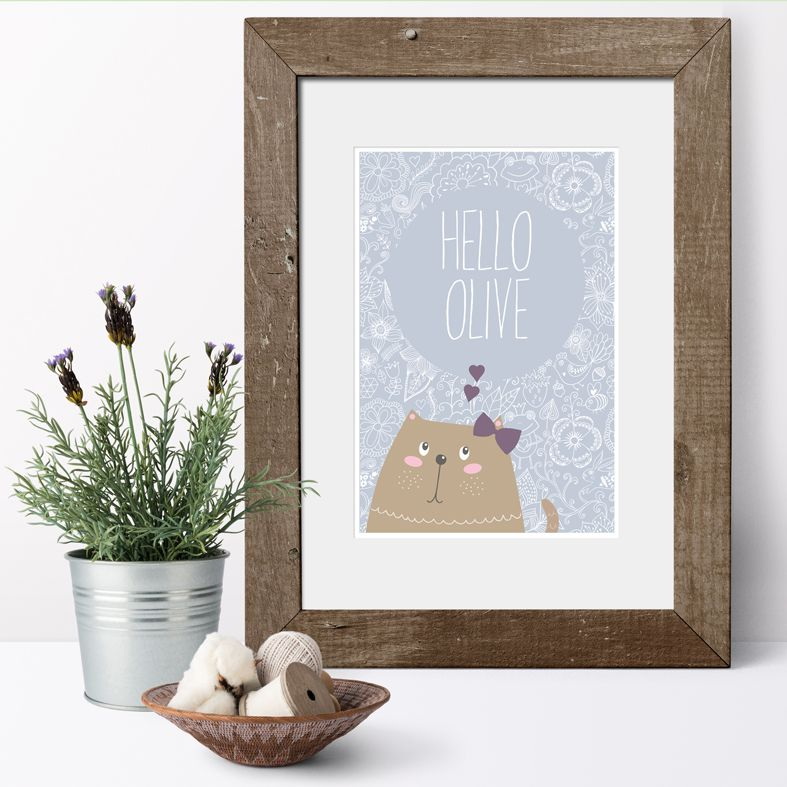 Hello Kitten personalised name poster print | A delightful range of personalised name prints featuring your baby's name. Fun gift for #catlover. Lovely #nurserydecor #babygift from PhotoFairytales